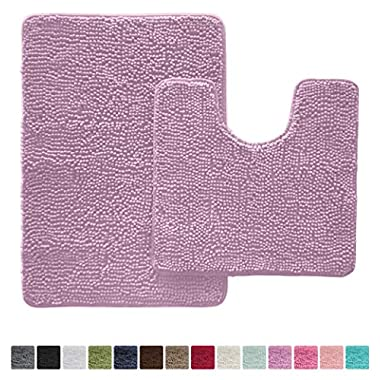 Gorilla Grip Original Shaggy Chenille Bathroom 2 Piece Rug Set Includes Mat Contoured for Toilet and 30 x 20 Carpet Rugs, Machine Wash/Dry, Plush Sets Perfect for Tub, Shower, Bath Room (Purple)