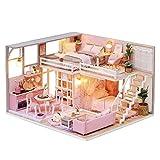 Cuteroom DIY Maison de poupée en Bois Faite à la Main Miniature – Modèle de Chambre de rêve et mobilier