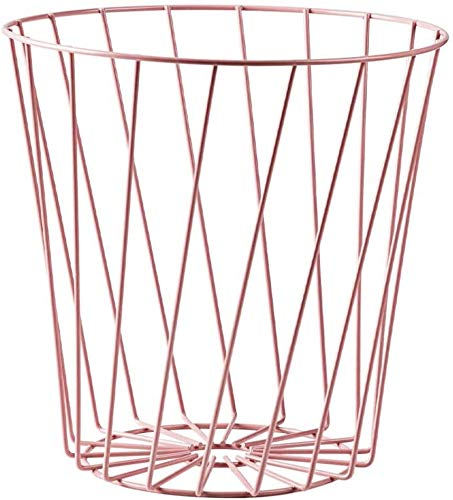 CAOLATOR Papelera de Oficina Papelera Circular de Rejilla metálica Papelera para Puerta Armario Cocina-Rosado