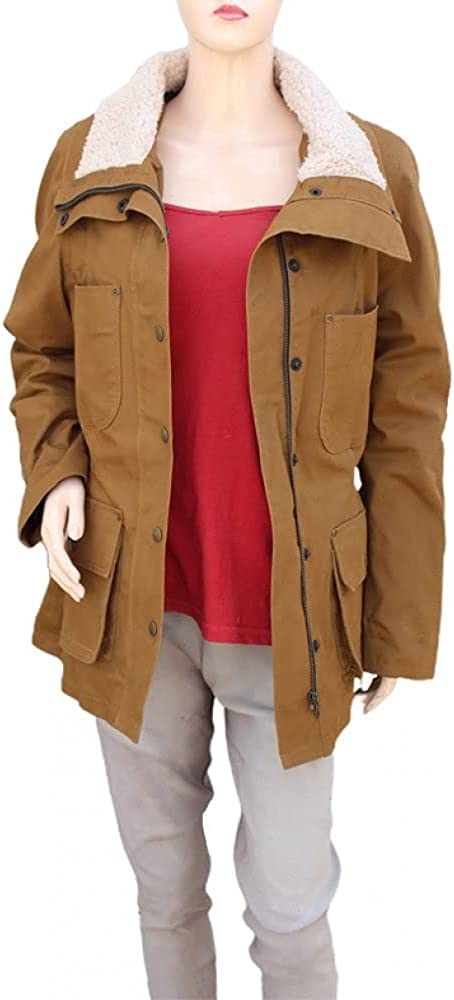 New Women's jacket Yellow stone Moonica Duton Cotton Jacket with Faux Fur Collar
