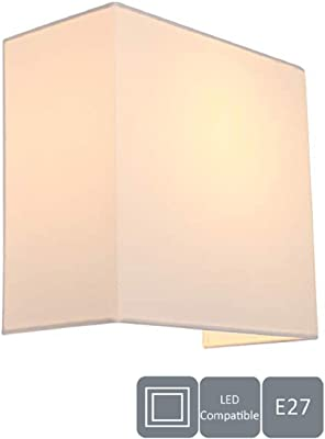 HARPER LIVING - Lámpara de pared con interruptor, color marfil y cuadrado, ideal para recámara, sala de estar, pasillo, hotel, B&B