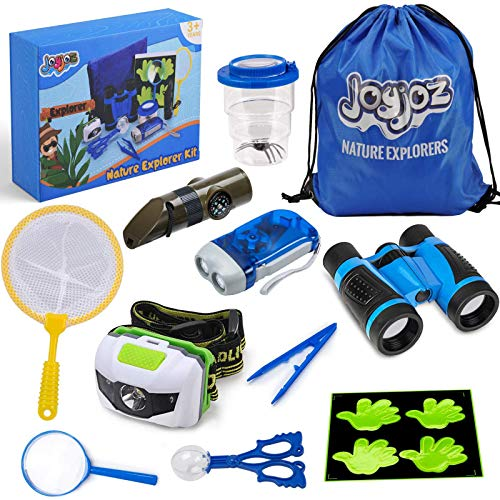 Joyjoz Adventure Kit, Kids Outdoor Kit with Compass, Binoculars, Flashlight, Magnifying Glass, Backpack, Butterfly Net Toys Gift for Boys & Girls Age 3-12 Year Old Camping Hiking