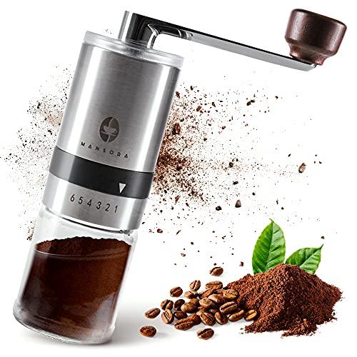 Mansora Kaffeemühle Manuell, Handmühle mit Keramikmahlwerk mit fein einstellbarem Mahlgrad, langlebig & schick, Coffee Grinder für Kaffeebohnen Aller Art