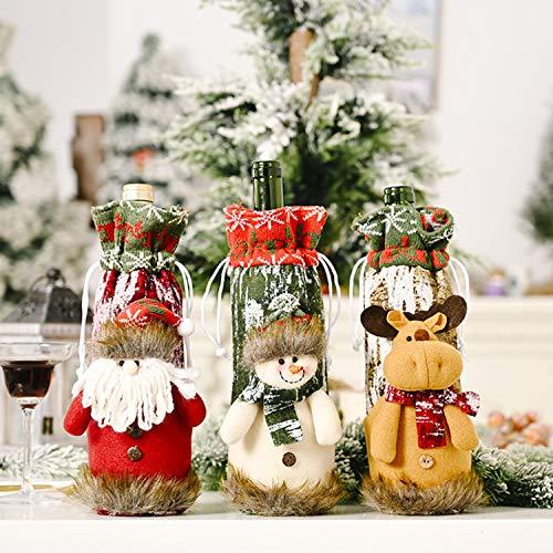 N / A 3Pcs Weihnachten Weinflasche Abdeckung Weihnachtsmann, Schneemann & Rentier Kordelzug Taschen, Weinflasche Kleid Sets Weihnachten Flaschen Deko