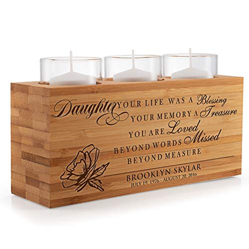 United Craft Supplies Personalized Funeral Candle Holder, Custom Engraved Keepsake Ideas for Daughter - Memorial, Sympathy Gift for Daughter, Family