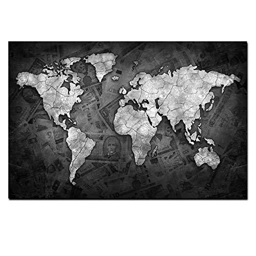 Modern Leinwand Malerei Abstrakte 3D-Weltkarte Leinwand Malerei Globus Karten Auf Geld Hintergrund Druck Auf Leinwand Für Büroraum Wandbild Home Decor Gemälde 50 * 75cm