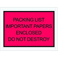 Aviditi PL412 Poly Envelope, Legend PACKING LIST - IMPORTANT PAPERS ENCLOSED DO NOT DESTROY, 4-1/2 Length x 6 Width, 2 mil Thick, Black on Red (Case of 1000) by Aviditi