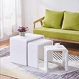 GOLDFAN Set di 3 Tavoline Salotto in Legno Moderno Lucido Tavoline da caffè Laccato, Multifunzione Tavoline Sovrapponibili Quadrato, Bianco