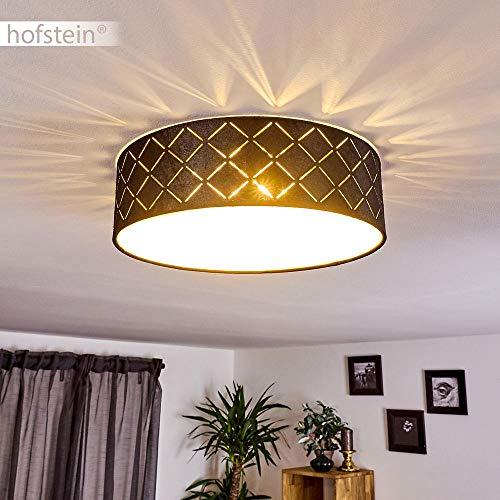 Deckenleuchte Arnoya, runde Deckenlampe aus Stoff in schwarz, Ø 35 cm, moderne Innenleuchte mit Lichteffekt an der Decke, 2-flammig, 2 x E27 max. 15 Watt, geeignet für LED Leuchtmittel
