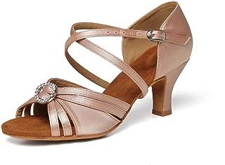 Yokala Ballroom Dance Shoes Women Latin Salsa Practice Open-Toe Sandals 2.5 Inch Heels S01