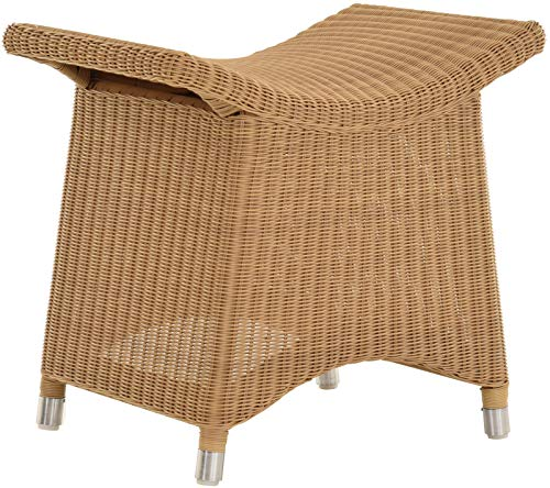 korb.outlet Fußhocker mit geschwungener Ablage, Stabiler Sitzhocker/Schemel/Hocker aus künstlichem Rattan (Outdoor Sand)