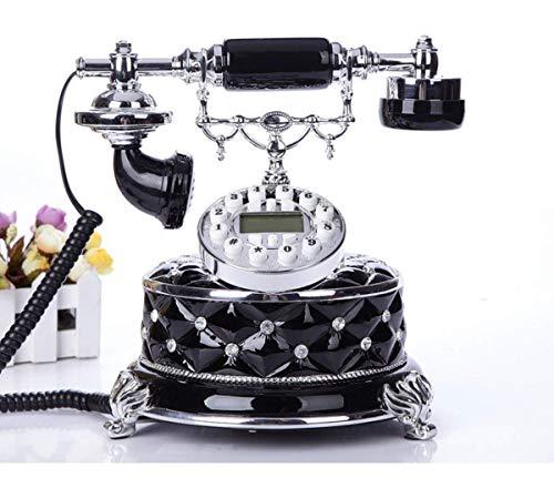 SXRDZ Teléfono Retro Vintage, teléfono Fijo con Cable de Estilo Antiguo con dial de botón para el hogar y la decoración de Oficina, Negro