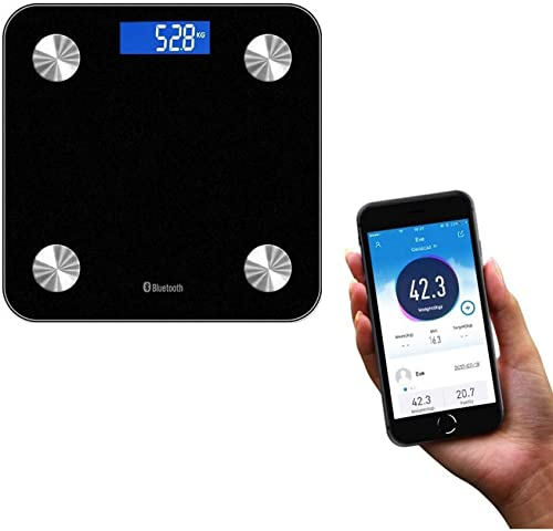 Leaone Smart Bluetooth Bathroom Weight Scale with App - USB Charge Body Composition for 12 Measures BMI Body Fat Muscle