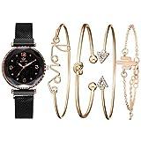 Reloj De Pulsera De Cuarzo para Mujer Reloj con Imán De Cielo Estrellado Juego De Regalo Impermeable Reloj En Caja + Pulsera Negro