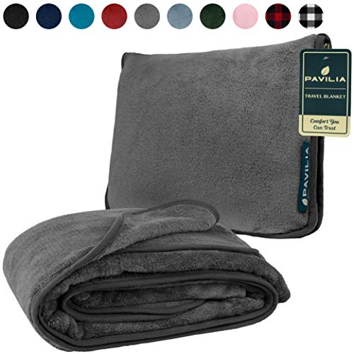 PAVILIA Fleece Travel Blanket Pillow | Large Portable Airplane Blanket with Luggage Strap | 2-in-1 Foldable Blanket for Travel, Use as Blanket for Car, Flight, Work, Camping (Gray)