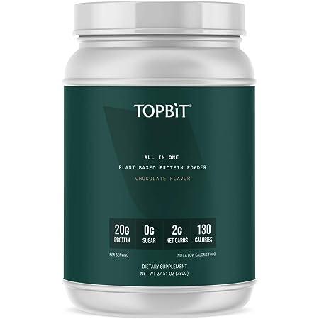 TOPBiT All-in-One Plant Protein Powder, Chocolate Flavor– Vegan Protein Powder, Sugar Free, Stevia Free, Nut Free, Soy Free, 20g Protein, Probiotics, BCAA, Greens, 1.8LB