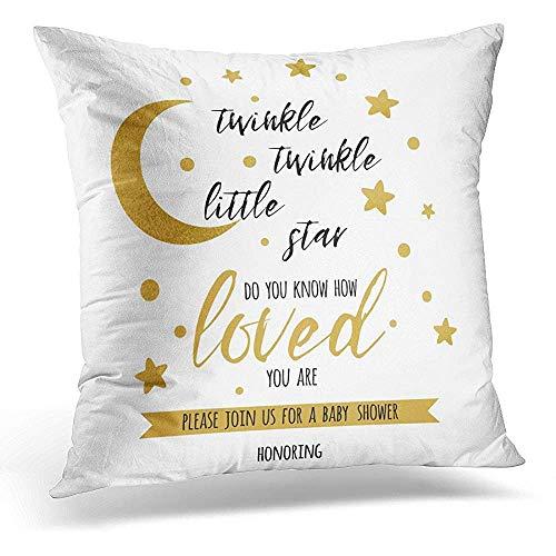 Zjipeung Funda de almohada decorativa Twinkle Little Star Texto con Lindo Oro y Luna para Niña para Niñas Etiqueta de Cumpleaños Inspiradora Funda de almohada cuadrada Decoración del Hogar Funda de almohada de 45,7 x 45,7 cm