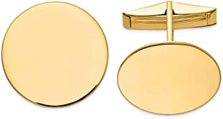 14k Yellow Gold Solid Polished Engravable Circular Cuff Links