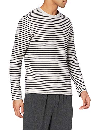 Marc O'Polo Body & Beach Herren Mix M-Shirt LS Crew-Neck Pyjamaoberteil, Natur, XL
