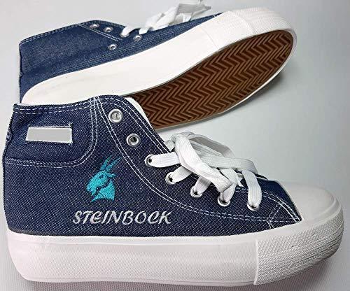 Damen Jeans Sneaker individuell bestickt Gr. 36 bis 41 Turnschuhe (fallen klein aus- Tatsächlich 1 Nr. kleiner)