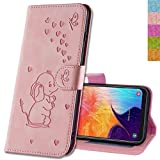 MRSTER Honor 8X Hülle Flip Hülle Lederhülle Schutzhülle Klapphülle Leder Handytasche Dünn Handy Schutzhülle Tasche Cover Geldbörse Etui für Huawei Honor 8X. RZ Elephant Pink