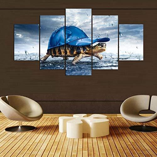 WGWNYN Impresiones en Lienzo Pinturas Arte de la Pared5 Piezas Animal La Tortuga Póster Imágenes Sala de Estar o Dormitorio Decorativo Enmarcado10x15 10x20 10x25cm