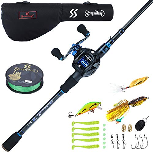 Sougayilang Baitcaster Combo Fishing Rod and Reel Combo, Ultra Light Baitcasting Fishing Reel with Rod Bag for Travel Saltwater Freshwater and Beginner-5.9FT with Left Hand Reel with Rod Bag