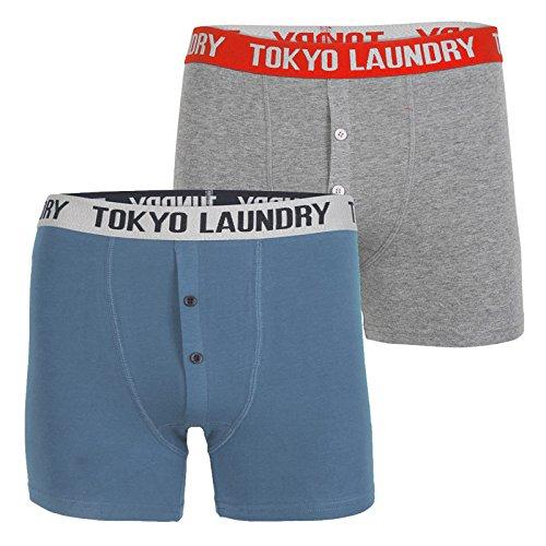 Tokyo Laundry Herren Straight Leg Boxershort rot rot Gr. Größe-S 79 cm-78 cm, Federal Blue/Mid Grey