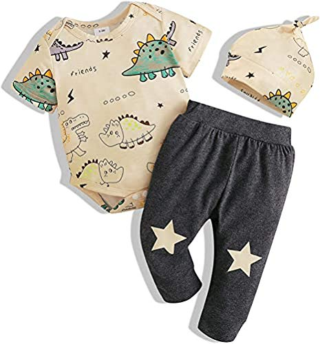 ASDFGH Neugeborene Babykleidung Anzug Kleiner Dinosaurier Overall Hut Baby Boy 3PCS Kleidung