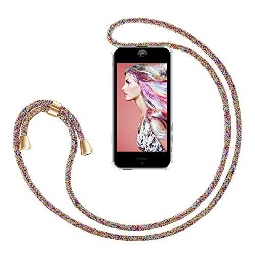ZhinkArts Handykette kompatibel mit Apple iPhone 5 / 5S / SE (2016) - Smartphone Necklace Hülle mit Band - Handyhülle Case mit Kette zum umhängen in Rainbow