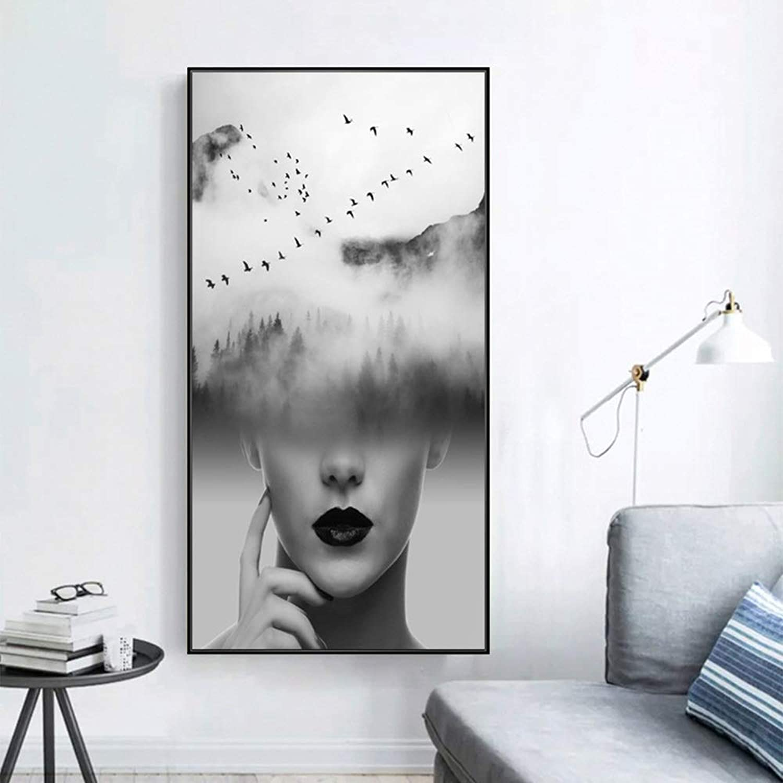 para proporcionarle una compra en línea agradable Nuanxin Minimalista Moderno Arte Humano Colgando Colgando Colgando Pintura, Nordic Wind Living Restaurant Mural, No Es Fácil De Deformar, Negro PS, Anti-desvanecimiento S10 (Talla   50  100cm)  promociones emocionantes