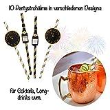 L+H Silvester Party Set 2021 | Party Deko Set mit über 15 Premium-Teilen | 10x hochwertige ökologische Trinkhalme, 3X Partypopper, 6X Partyhüte wiederverwendbar | Happy New Year Dekoration - 5