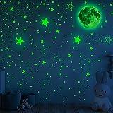 1003 Pezzi Adesivi Luminosi Stelle Luminose Montate sul Soffitto e Adesivi Murali Stelle e Luna Appiccicose Luminose per la Camera da Letto Soggiorno della Scuola Materna Asilo(A)