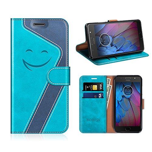 MOBESV Smiley Motorola Moto G5S Hülle Leder, Motorola Moto G5S Tasche Lederhülle/Wallet Hülle/Ledertasche Handyhülle/Schutzhülle für Motorola Moto G5S, Aqua/Dunkel Blau