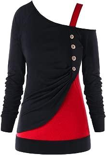 Women's Shirts Blouse Long Sleeve Casual Button Plus Size Sweatshirts Tops Off Shoulder Sweatshirt Jumper Sweaters