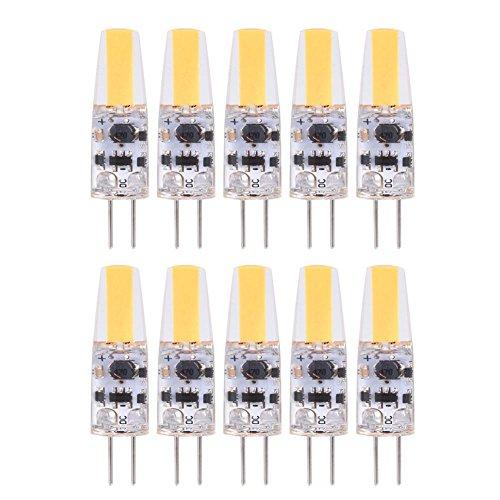 Fdit 10 bombillas G4 LED de silicona, bombilla halógena de repuesto G4 LED con base bipin de 1,2 W CA/CC, 12 – 24 V, varios paquetes, color blanco frío