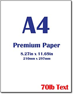 "Premium A4 (8.3""x 11.7"") Printer Paper - 28lb Bond / 70lb Text (105 GSM) Bright White Paper (250 Sheets)"