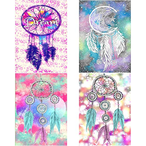 Arte de Punto de Cruz de Diamante 11,81x15,75 Pulgadas Bordado de Arte de Diamante fanshiontide 4 Unidades Kits de Bricolaje de Pintura de Diamante 5D Navidad