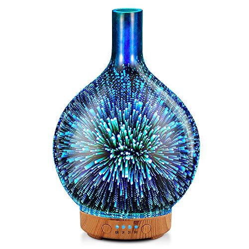 Porseme Aroma Diffuser Luftbefeuchter 100ml 3D Luftbefeuchter Ultraschall Leise 7 farbwechselnde LEDs Raumbefeuchter BPA Frei für Wohnung Yoga SPA mit Timer (Silver)