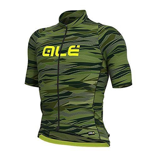 Alé Cycling Graphics PRR Rock Kurzarm Trikot Herren Green/Fluo Yellow Größe S 2021 Radtrikot kurzärmlig