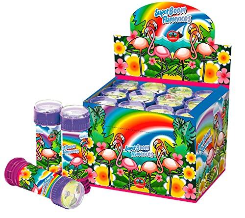 SUPERBOOM - Caja Pomperos de Burbujas de Jabón con Flamencos - 12 Unidades de 60 ml