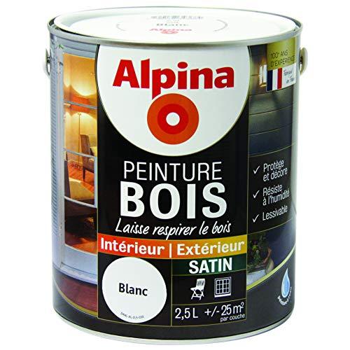 ALPINA Peinture Bois microporeuse - Satin Blanc 2,5L 25m²