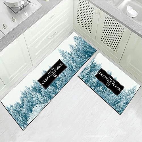 2 Piezas Alfombras de Cocina Antideslizante Alfombra de Lavable Aceite Resistente Manta Larga Decorativa para Baño Comedor Dormitorio Impermeables Antideslizantes 50x80+50x160CM Escena de nieve
