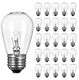 26 Pack S14 Light Bulbs- 11 Watt Warm Replacement Clear Glass Bulbs for Commercial Grade Outdoor Patio Garden String Lights E26 Medium Base