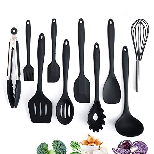 Adkwse Küchenset Silikon, Kochbesteck Set Advanced Hitzebeständige Küchengeräte Kochzubehör Antihaft-Küchenbackwerkzeuge ,Schneebesen, Grillzangen etc 10 Stücke