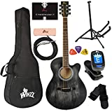 WINZZ 40 Inches Cutaway Acoustic Guitar Beginner Starter Bundle with Online Lessons, Padded Bag, Stand, Tuner, Pickup, Strap, Picks, Black