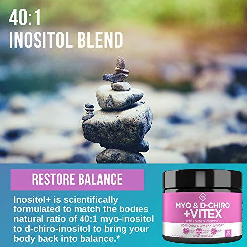 Flavorless Myo-Inositol & Vitex Powder - Myo Inositol and D-Chiro Inositol with Vitex PLUS Folate and Vitamin D - Ideal 40:1 Ratio - 30 Day Supply