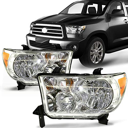 Make Auto Parts Manufacturing Set of 2 Driver & Passenger Side Headlight Headlamp Composite Clear Lens For Toyota Tundra without Level Adjuster 2007 2008 2009 2010 2011 2012 2013 - TO2503171 TO2502171