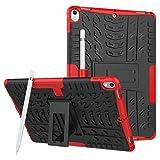 Carcasa híbrida de doble capa con función atril 2 en 1, a prueba de golpes, compatible con iPad Pro de 10,5 pulgadas (2017 lanzamiento), color rojo