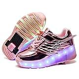 Automática Ruedas Ajustables LED Zapatillas con Luces Ruedas Zapatos de Skate Roller Deportivos Zapatos Luminosas Flash Patines Sneaker para Niños Niñas con USB Carga